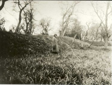 Topcliffe's mound, site of the former manor house, photographed in the 1930s | Cambridgeshire Collection