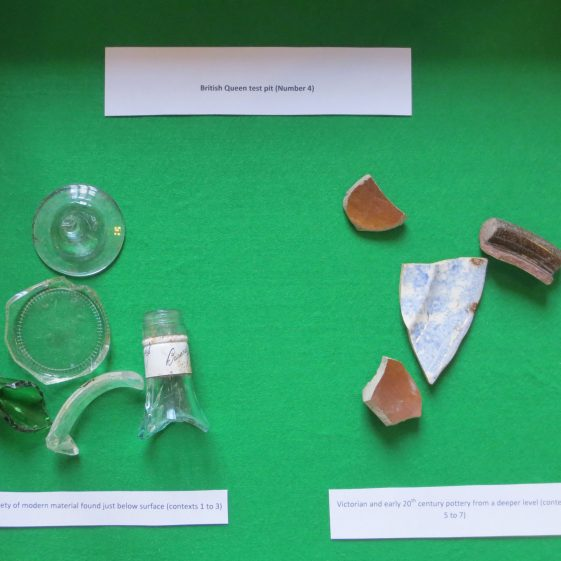 Finds from Test Pit 4 at the British Queen | Photograph by Kathryn Betts