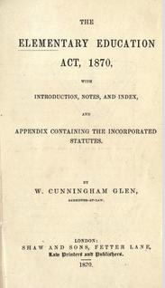 Title page of a guide to the Elementary Education Act, 1870. | kmflett.wordpress.com