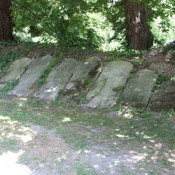 a row of headstones, moved from their original locations | Photograph by Malcolm Woods