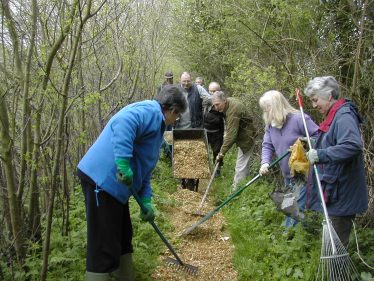 Volunteers laying wood chippings on one of Meldreth's footpaths
