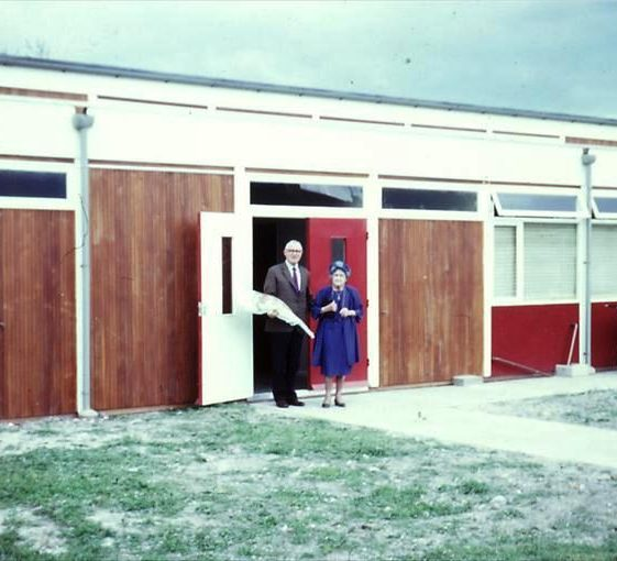 Opening of Village Hall on corner of Elin Way and High Street, Meldreth by Mr Percy Powles and Mrs Dainty.  1973 | Photo supplied by Tim Gane