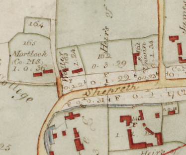 Probable location of Charles Mortlock Waller's Farm, North End | Section taken from Map of the Parish of Meldreth, 1820, at the time of Inclosure
