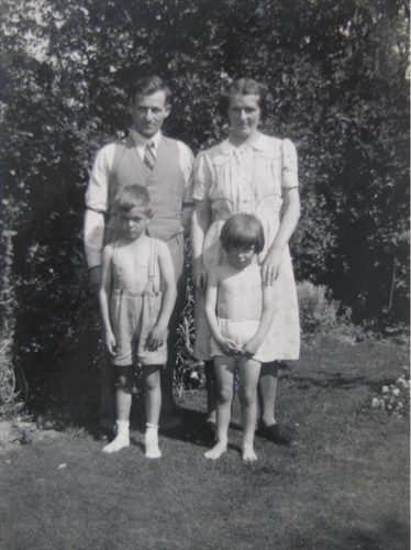 Bert and Mildred Winter with Ken and Kathleen ~1941 pictured in the garden of the Station Yard Cottage, now the main entrance to Go-Cold. | Kathleen Murder (nee Winter)