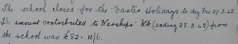 Extract from the school log book, March 1942 | Photograph courtesy of Meldreth Primary School
