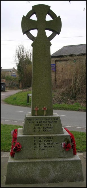 Meldreth War Memorial, showing the names of J R Howard and A K Walbey, who were ex pupils of the school | Photograph by Kathryn Betts