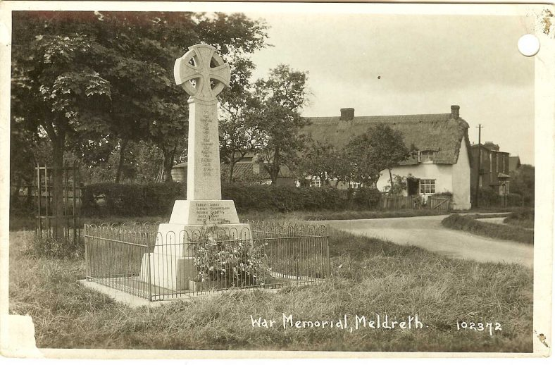 102372 War Memorial, Meldreth<br> Taken after February 1920, when the dedication of the war memorial took place | Bell's postcard supplied by Ann Handscombe