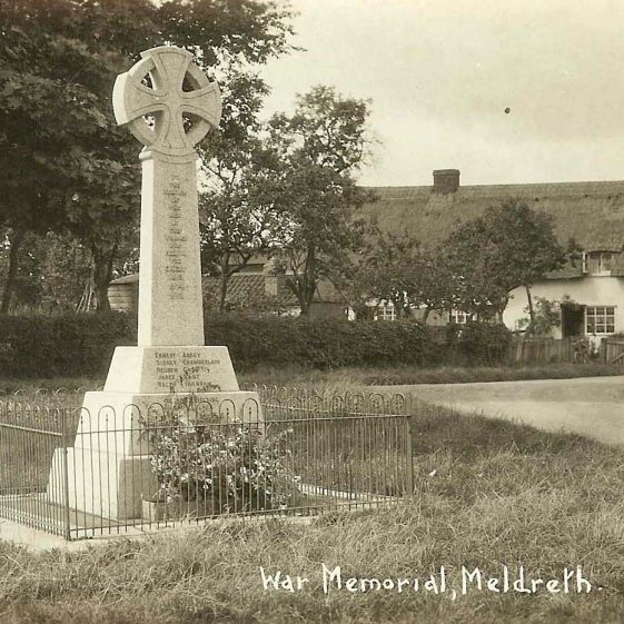 Meldreth War Memorial, 1920s | From a Bell's postcard supplied by Ann Handscombe