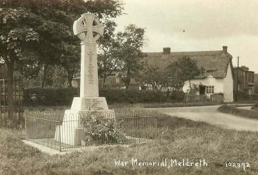 The Meldreth War Memorial in the 1930s, Rose Cottage and Hope Folly, Whitecroft Road in the background | Bell's Postcard supplied by Ann Handscombe