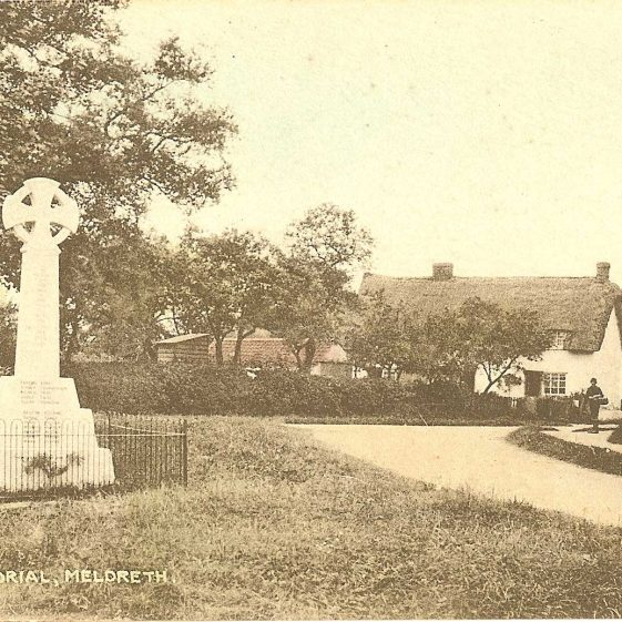 Meldreth War Memorial, 1930s. | Bell's Postcard supplied by Ann Handscombe