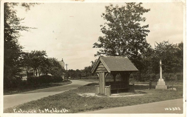 <b>Corner of High Street, Station Road and Whitecroft Road: Entrance to Meldreth</b>   Bell's Postcard, 1920s