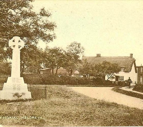 War Memorial at junction of High Street, Whitecroft Road and Station Road, Meldreth.  Rose Cottage and Hope Folly are on l/h side. c. 1935 | Photo supplied by Ann Handscombe