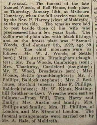 The report of Samuel Woods' funeral, 1922 | Royston Crow