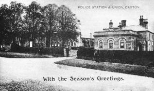 The Arrington Police Station and Court building is shown here on the right. The Caxton and Arrington Union Workhouse is behind the trees on the left | Contemporary postcard, Cambridgeshire Collection